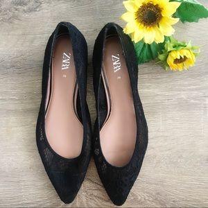 NWOT Zara Lace Ballet Flats Black
